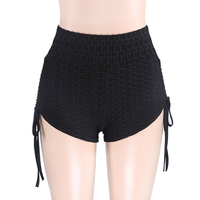CHRLEISURE Summer High Waist Shorts Sexy Push Up Workout Shorts Women Solid Lace Up Shorts Mujer Femme 3Color-lilugal