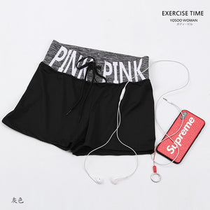 New Fitness Summer Women Casual Shorts Cozy Soft Breathable Elastic Waist VS Secret Pink Shorts Striepd Body Workout Short-lilugal
