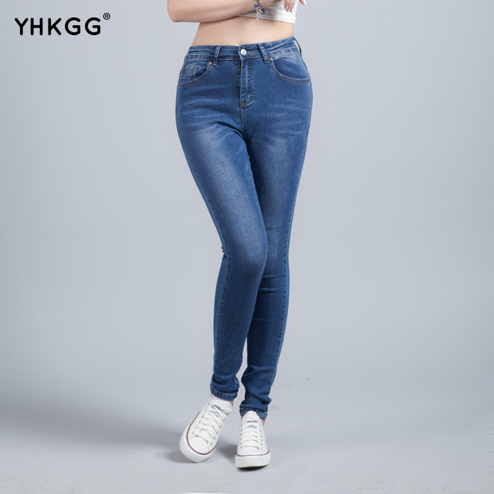 YHKGG Jeans for Women With High Waist Jeans Woman High Elastic Plus Size Women Jeans Femme Washed Casual Skinny Pencil Pants-lilugal