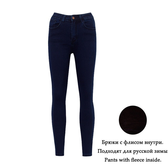 WIXRA Basic Jeans Women Fashion Pencil Jeans Casual Denim Stretch Skinny Jeans Femal Vintage Mid Waist Jeans Women Slim Pants-lilugal