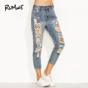 ROMWE Blue Distressed Ripped Embroidered Patch Jeans Women Casual Ankle Denim Pants Fall Button Fly Cropped Mid Waist Jeans-lilugal