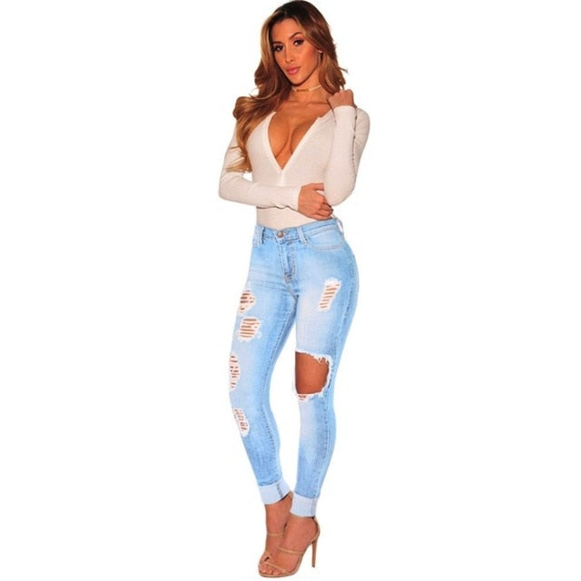 fashion pencil pants women washed Jeans Women Stretch high Waist Skinny hole ripped gradual change Jeans hollow out jeans S-3XL-lilugal