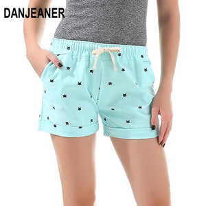 DANJEANER 2018 New Cotton Women's Casual Shorts home-style cat's head candy-colored Shorts-lilugal