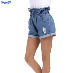 2018 New Summer Denim Shorts Women Curling Hole Loose Casual Short Feminino Elastic High Waist Jeans Shorts Plus Size S-5XL-lilugal