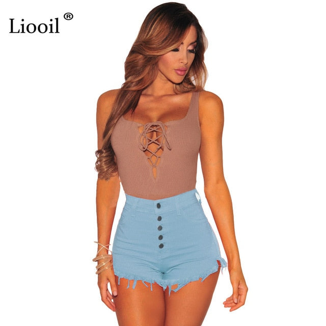 Liooil Black White Red Denim Shorts 2018 Cotton High Waisted Fashion Button Pockets Skinny Women Shorts Summer Sexy Jean Shorts-lilugal
