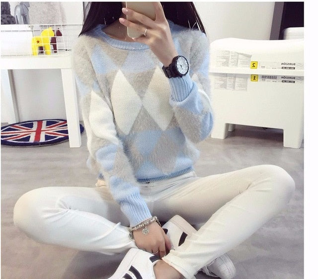 2018 Female Pullovers Winter Sweater Fashion Women Spring Autumn Pullover Long Sleeve Plaid Casual Ladies Sweaters-lilugal