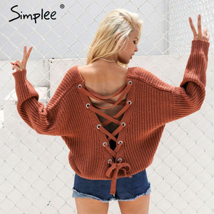 Simplee Sexy backless knitting pullover Fashion lace up autumn winter sweater women tops Casual hollow out jumper pull femme-lilugal