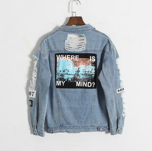 Where is my mind? Korea Kpop retro washing frayed embroidery letter patch bomber jacket Blue Ripped Distressed Denim Coat Female-lilugal