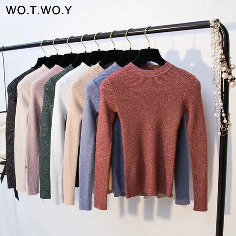 WOTWOY Shiny Lurex Autumn Winter Sweater Women Long Sleeve Pullover Women Basic Sweaters Women 2018 Korean Style Knit Tops Femme-lilugal