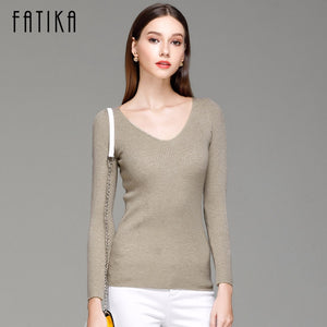 FATIKA Womens Autumn Winter Cotton Blend Sweater V-Neck Pullovers Long Sleeve Jumpers Womens Knitted Sweaters-lilugal