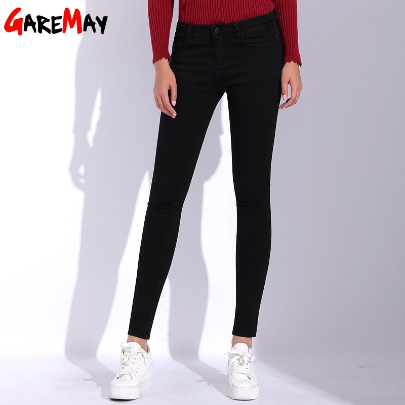 GAREMAY High Waist Black Jeans Women Skinny Plus Size Jeans For Women Denim Pants Jean Femme 2018 Trousers Jean Female Bottoms-lilugal