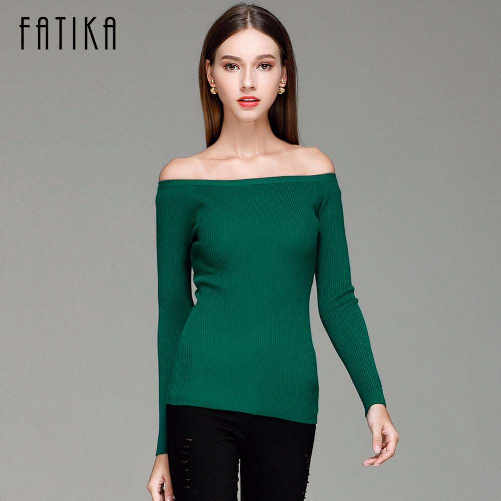 FATIKA Autumn and Winter Basic Women Sweater slit neckline Strapless Sweater thickening Sweater Off Shoulder Pullover Sweaters-lilugal