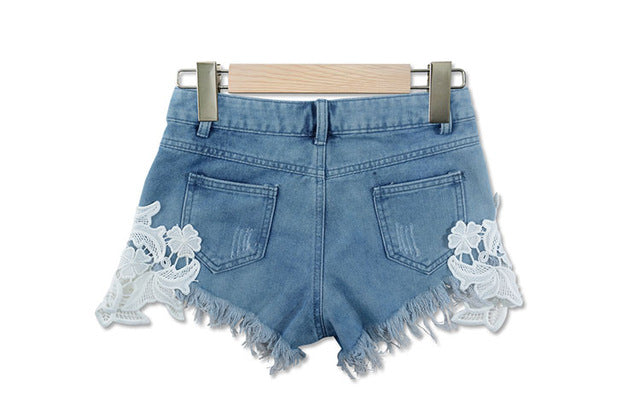 2018 summer lace hollow out sexy cowboy shorts female hot shorts Grunge style casual denim shorts white lace short pants woman-lilugal