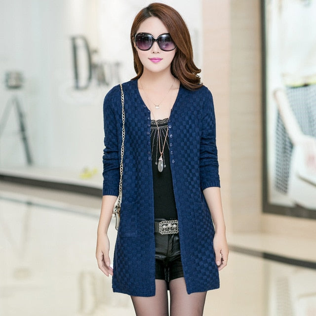 2018 Summer Cardigan With Pockets Women's Clothing Soft and Comfortable Coat Knitted V-Neck Long Cardigan Female Sweater Jacket-lilugal