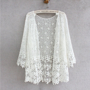 Japanese style mori girl lace cardigan women 2018 fashion floral hollow-out crochet lace tops women summer cardigan renda-lilugal