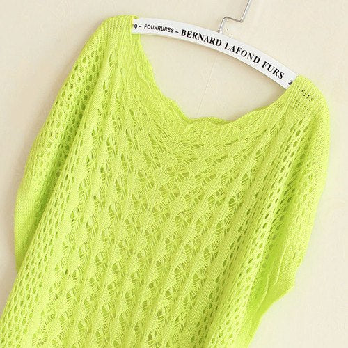 2018 Summer Sweet Candy Color Sweter Women tops Loose Crochet Knitted Wears Batwing Sleeve Hollow Pullover Sweaters Sueter Mujer-lilugal