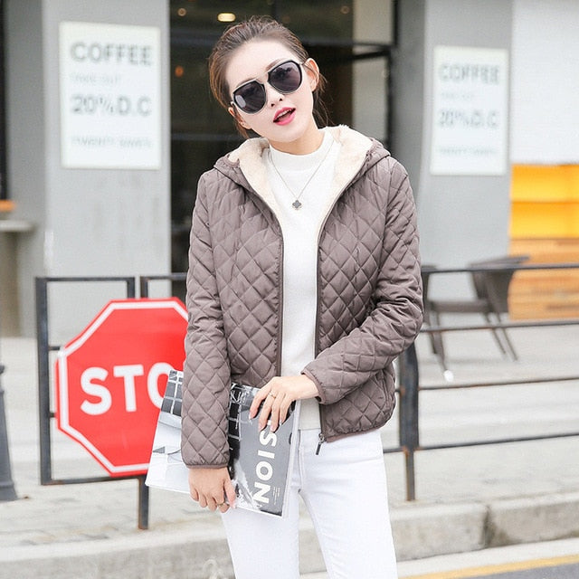 Autumn 2018 New Parkas basic jackets Female Women Winter plus velvet lamb hooded Coats Cotton Winter Jacket Womens Outwear coat-lilugal