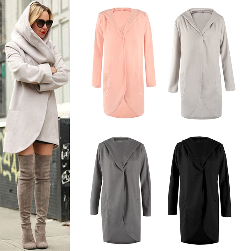 Loose Womens Hooded Coat Long Sleeves Fashion New Casual Woolen Jacket-lilugal