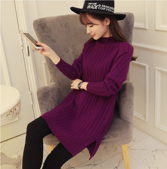 2018 Women Sweater And Pullover Autumn Winter Pullover Warm Female Pink Half-High Collar Pullover Long Sleeved Knit-lilugal