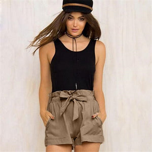 Summer Women 2018 Casual Design High Waist Loose Comfortable Fashionable Shorts Female With Belt Wholesale And Freeship F#J11-lilugal