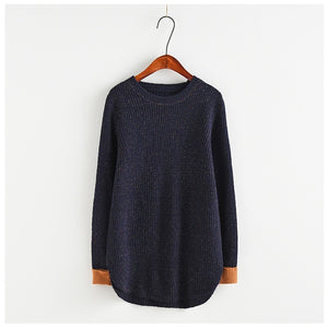 OMCHION Sueter Mujer 2018 O Neck Mix Color Patchwork Sweater Women Casual Loose Autumn Pullover Oversized Knit Jumper LMM06-lilugal