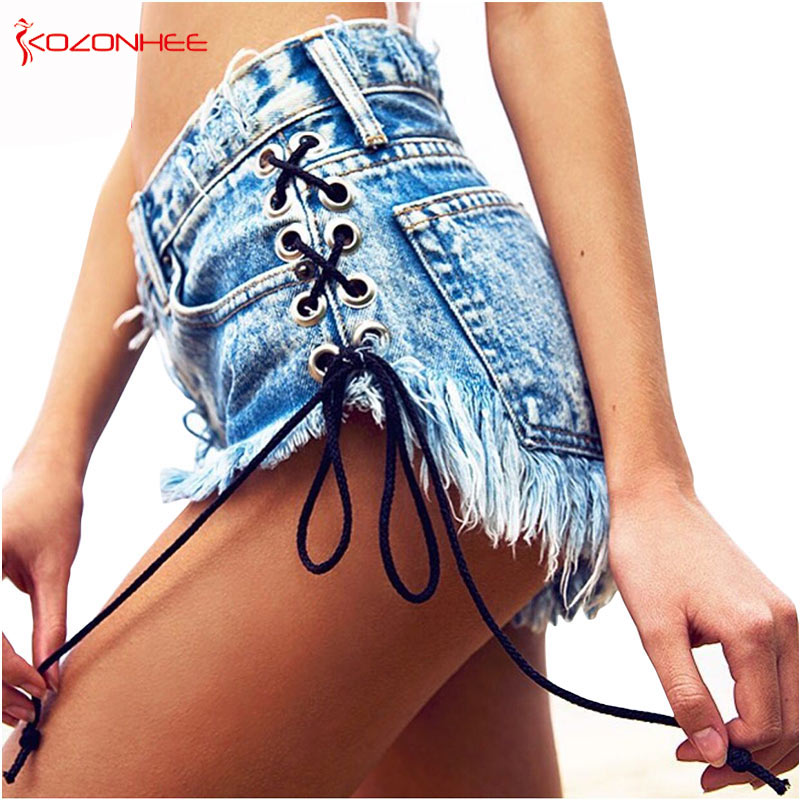 Vintage Snowflake Inelastic Women Denim Shorts With high Waist Straps Tassel Female Summer Shorts For Women's jeans-lilugal