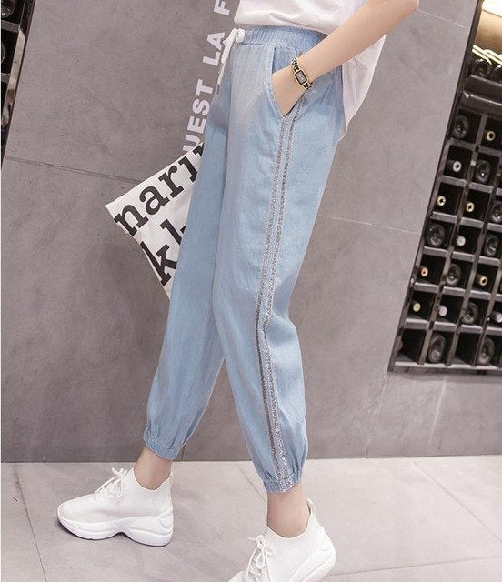 NIJIUDING Women Casual Jeans 2018 New Female Harem Pants Loose Silk Cotton Jeans Summer Soft Striped Ankle-Length Pants Blue XXL-lilugal