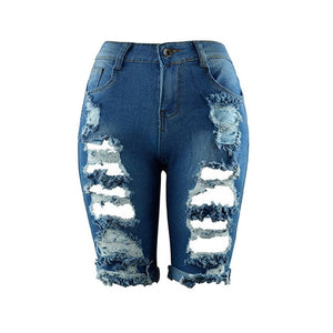 Laamei 2018 Sexy Women Euro Style Half Ripped Jeans High Waist Street Hole Stretch Worn Pants Slim Torn Knee Length Denim Jeans-lilugal