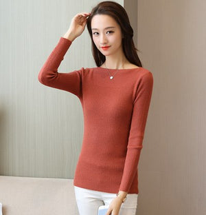 Women Sweater High Elastic Solid Slash neck 2018 Fall Winter Fashion Sweater Women Slim Sexy Hight Bottoming Knitted Pullovers-lilugal