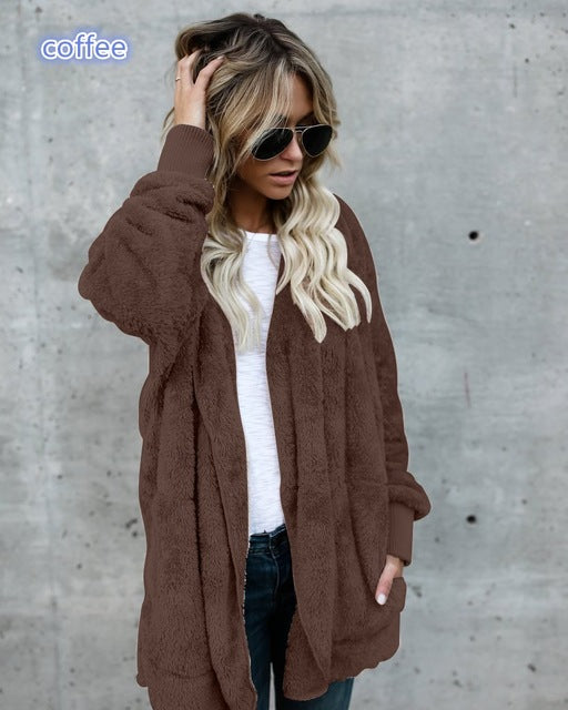 Avodovama M Fashion Casual Women Long Cardigans Hooded Long Parka Outwear Solid Warm Pocket Sweater-lilugal