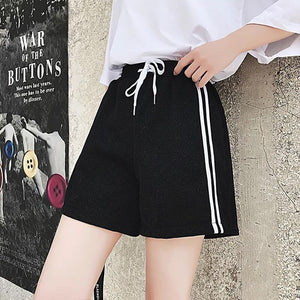 ZADORIN 2018 New Shining Hotpants Side Striped High Waist Casual Summer Shorts Women Purple Loose Lace Up Beach Boho Shorts-lilugal