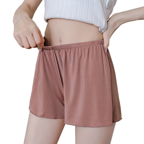 YRRETY Women Soft Seamless Short Pants Summer Under Skirt Shorts Modal Ice Silk Breathable Short Elastic Waist Style L-XXXL-lilugal