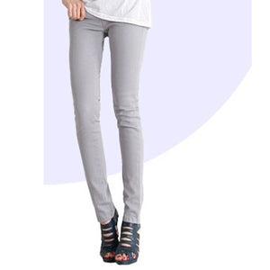 Women Jeans Cotton Pencil Leggings Skinny Jeans Mid Waist Woman Slim Fit Woman Full Length Candy Color-lilugal