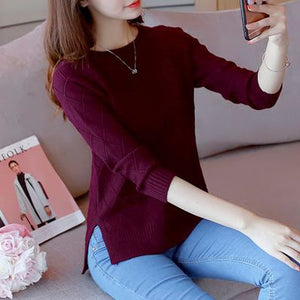 OHCLOTHING In the spring of 2018 new women's long sleeved Pullover female loose knit short shirt coat blouse-lilugal