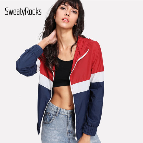 SweatyRocks Cut And Sew Hoodie Windbreaker Jacket Colorblock Zipper Pocket Coat Women Autumn Sporting Athleisure Jacket-lilugal