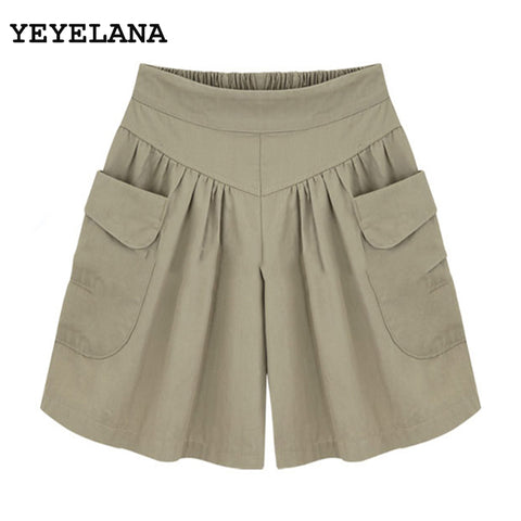 YEYELANA 2018 Women Summer Short Wide Leg Female Shorts Casual Loose Ladies Khaki High Waist Thin Pantalones Cortos A074-lilugal
