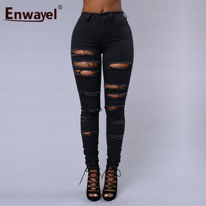 ENWAYEL Hot Sale 2018 Trend Hole Ripped Jeans For Women Casual Pencil Skinny Denim Trousers Stretchy Female Slim Pants Femme 253-lilugal