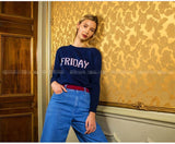 2018 Winter Runway Week Women Cashmere Sweaters and Pullovers Knitted Jumper Monday Tuesday Thursday Saturday Sunday Clothes Top-lilugal