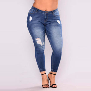 PLUS SIZE Jeans Women High Waist Pencil Blue Denim Pants women ripped hole washed fashion Jeans women 4XL 5XL 6XL 7XL big hip-lilugal