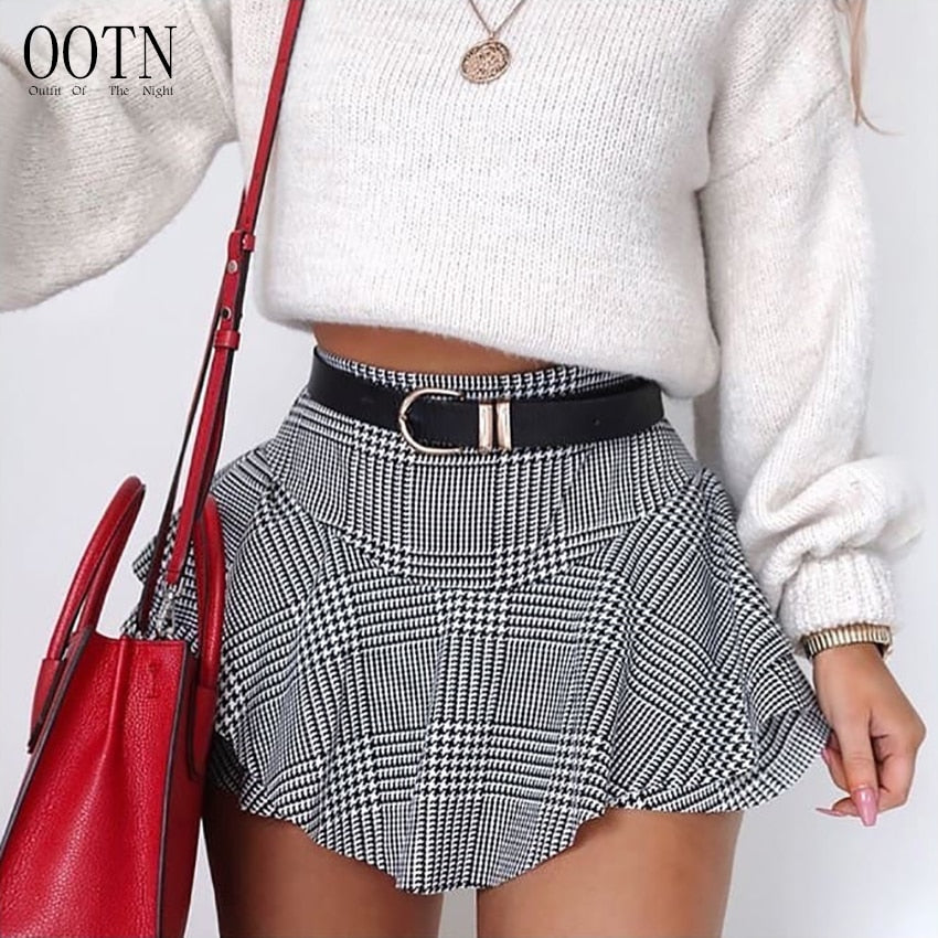 OOTN Black White Plaid Mini Short Sexy Summer Shorts Women Ruffle High Waist Skirt Shorts Female Vintage 2018 Retro Hot Short-lilugal