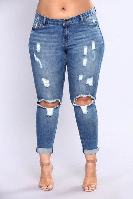 PLUS fashion Jeans Women High Waist Skinny Pencil Blue Denim Pants women ripped hole washed Jeans women 4XL 5XL 6XL 7XL big hip-lilugal