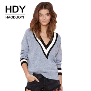 HDY Haoduoyi Autumn Fashion Loose Stripe V Neck Long Sleeve Casual Knitted Women Sweater Tops Jumper Tricot Pullovers-lilugal