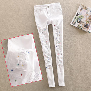 spring new diamond jeans female personality white Rhinestone pants hole pencil jeans plus size-lilugal