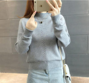Thicken Knitted Sweaters And Pullovers Women 2018 Autumn Winter Casual Turtleneck Cotton Full Sleeve Striped Loose Coat Female-lilugal
