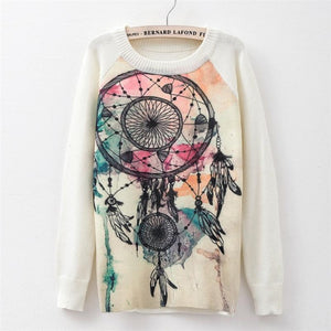 Sweater fashion 2018 women's rose printing fashion warm new Sweater Long Sleeve Stretch Pure Sweater Top Fall Winter Pullove-lilugal