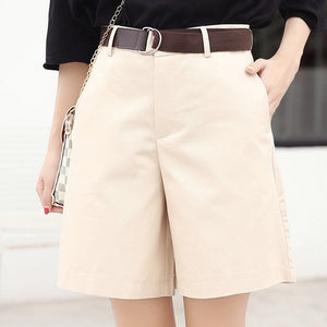 EXOTAO 2017 Summer Women Shorts Loose OL High Waist Pantalones Mujer Fashion Wide Leg Short Pants All-Match 5 Colors Cortos-lilugal