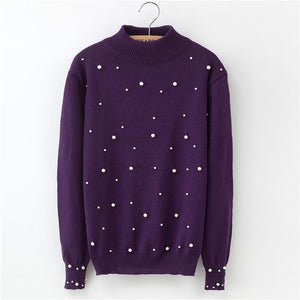 2018 Women Pearls Sweater Autumn Thin Pullovers Sweaters Long Sleeved Pullovers Female High Quality Fashion Winter Beading Coat-lilugal