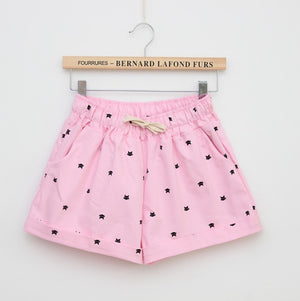 2018 Brand New Summer Women Casual Elastic Waist Cotton Shorts Printed Cat Drawstring Slim Shorts Candy Colors Women Shorts-lilugal
