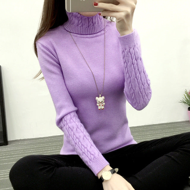 Knitting Sweater And Pullover For Women 2018 Fall Winter Turtleneck Tricots Tops Mujer Knitwear Female Jumper Knitted Coat Femme-lilugal
