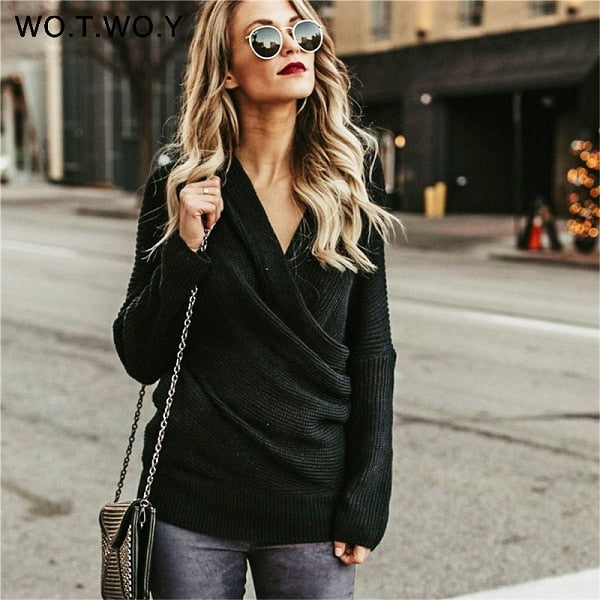WOTWOY Sexy V Neck Cross Knitted Sweater Women Pullover Hollow Out 2018 Winter Cashmere Women Sweater Backless Streetwear Jumper-lilugal
